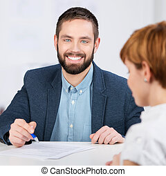 Businessman Explaining Documents
