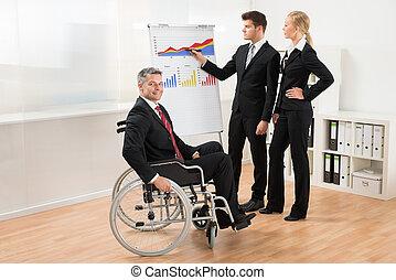 Businessman Explaining Graph To His Team