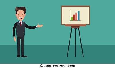 Businessman exposing business HD animation