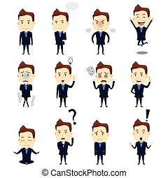 Businessman Expression Icons - A vector illustration of ...