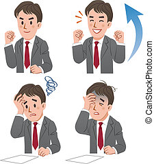 Set of businessman expressing rejoicing and baffling moments. File contains Gradients.