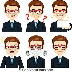 Businessman Expressions Set