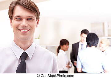 Businessman - Face of handsome businessman on the background...