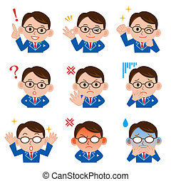 Businessman face sets - Businessman Expressions with lip...