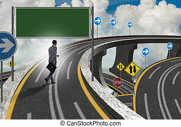 Businessman facing many different roads