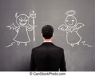 businessman facing of devil and angel
