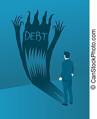 Businessman Facing the Debt Evil, Concept of Brave to handling Debt Crisis.