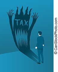 Businessman Facing the TAX Evil, Concept of Brave to handling TAX Management.