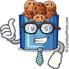 Businessman falafel in fried on teflon cartoon vector ...