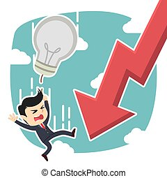businessman fall along with his idea and graphic