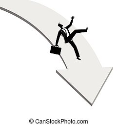 Businessman falling down from arrow graphic