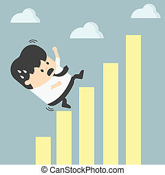businessman falling down  graphic chart