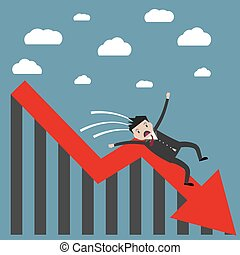 businessman falling from the chart - cartoon businessman ...