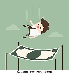 Businessman falling into a financial safety net.