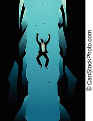 Businessman Falling Into Pit