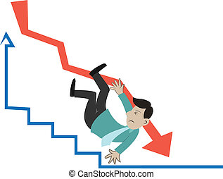 businessman falling - the business man is falling on the...