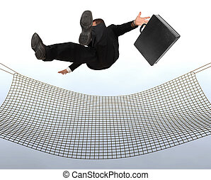 Businessman falling the Sky into a safty net