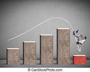 Businessman falls on a negative statistic. Concept of crisis and problem