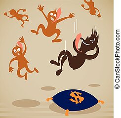 businessman falls on a soft pillow. Vector illustration on a...