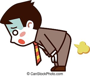 Businessman farts - Vector illustration.