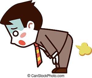 Businessman farts - Vector illustration.