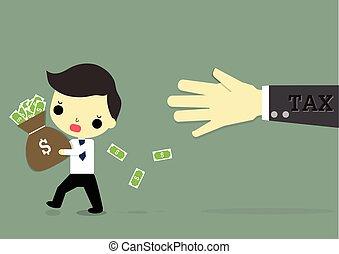 businessman fear tax - businessman who hold money running ...
