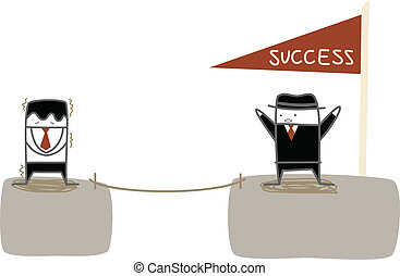 businessman fear to climb to the success cliff