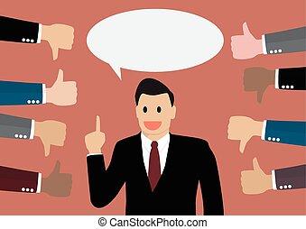 Businessman feedback. Flat style Illustration