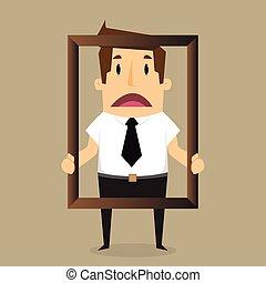 Businessman  feel bad of himself inside a frame