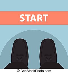 Businessman feet in front of start line