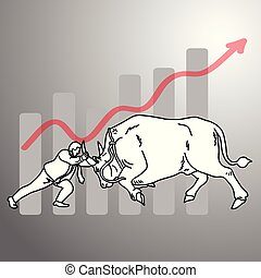 businessman fighting a bull with graph up background vector illustration doodle sketch hand drawn with black lines isolated on gray background. Business concept.
