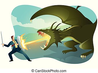 Businessman fighting a dragon