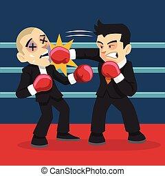 Businessman fighting