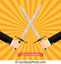 Businessman fighting with swords. Business competition...