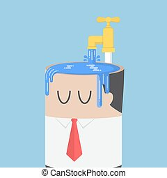 Businessman fill water into his head untill overfull. ego concept
