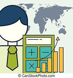 businessman financial business statistics graph world