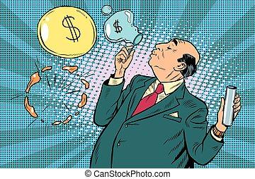 Businessman financier money inflates bubbles, pop art retro...