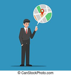 Businessman find location in map application on smartphone.