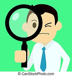Businessman finding job with magnifier vector