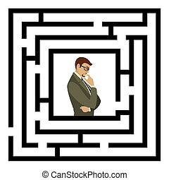 Businessman finding the solution of a maze. Business concept.