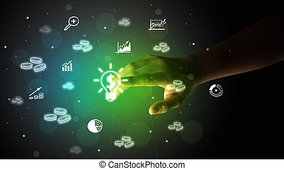 Businessman finger touching on screen multimedia interface with hand drawn currency icons