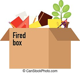 Businessman fired box with office thin