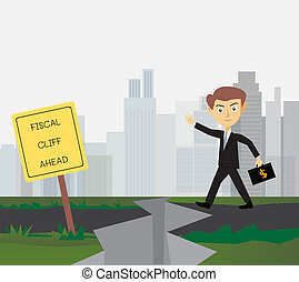 Businessman Fiscal Cliff - Businessman carrying dollars bag...