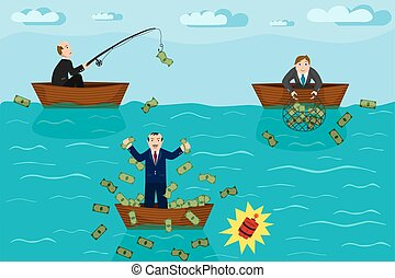 Businessman fishing money