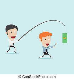Businessman fishing money for motivation
