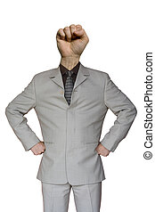 Businessman Fist Hand Head - a funny businessman with a fist...