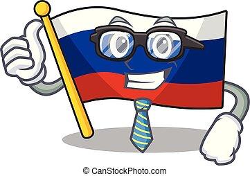 Businessman flag russian stored in cartoon cupboard