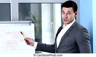 Businessman flipchart explains about some topic. close-up -...
