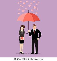 Businessman flirt with a woman under an umbrella