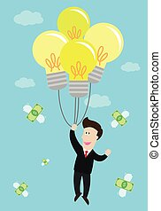 businessman float in the air